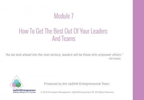 Module 7 how to get the best out of your leaders & teams